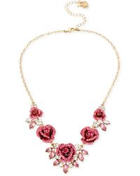 Betsey Johnson - Gold-tone Glitter Rose Frontal Necklace - Lyst