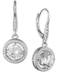 Anne Klein | Round Crystal And Pavé Drop Earrings | Lyst