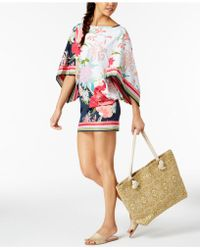 Trina Turk - Royal Botanical Floral-print Tunic Cover-up - Lyst