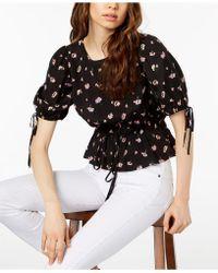 JILL Jill Stuart - Smocked Tie-waist Peasant Top, Created For Macy's - Lyst