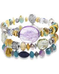 Catherine Malandrino - Multicolored Beaded Three Layer Yellow Gold-tone And Silver-tone Stretch Bracelet - Lyst