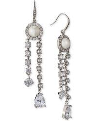 Carolee - Silver-tone Crystal & Imitation Pearl Linear Drop Earrings - Lyst