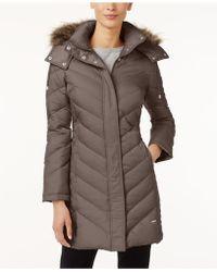Kenneth Cole - Hooded Faux-fur-trim Down Chevron Puffer Coat - Lyst
