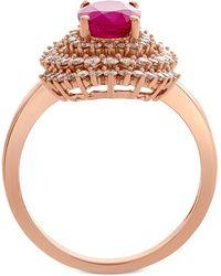 Macy's - Certified Ruby (1-1/3 Ct. T.w.) & Diamond (3/4 Ct. T.w.) Ring In 14k Rose Gold - Lyst