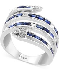 Effy Collection - Effy® Sapphire (1-1/2 Ct. T.w.) & Diamond (1/4 Ct. T.w.) Snake Statement Ring In 14k White Gold - Lyst