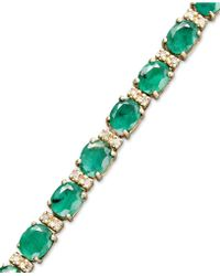 Effy Collection - Emerald (9-1/3 Ct. T.w.) And Diamond (1/4 Ct. T.w.) Tennis Bracelet In 14k Gold - Lyst