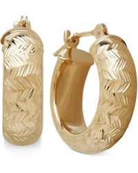 Macy's | Wide Chevron-design Hoop Earrings In 10k Gold | Lyst
