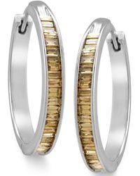 Macy's - Sterling Silver Earrings, Champagne Diamond Baguette Hoop Earrings (1 Ct. T.w.) - Lyst