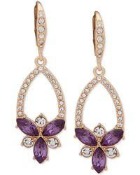 Anne Klein - Gold-tone Crystal & Stone Cluster Drop Earrings - Lyst