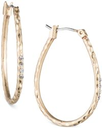 Lonna & Lilly - Gold-tone Textured Oval Hoop Earrings - Lyst