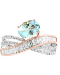 Effy Collection - Effy® Aquamarine (1-1/6 Ct. T.w.) And Diamond (1/2 Ct. T.w.) Ring In 14k Rose And White Gold - Lyst
