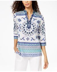 Charter Club - Petite Cotton Printed Tunic, Created For Macy's - Lyst