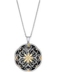 "Macy's - Onyx Filigree Floral Disc 18"" Pendant Necklace In Sterling Silver & 14k Gold - Lyst"
