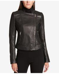 DKNY - Asymmetrical Leather Jacket - Lyst