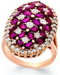 Macy's - Ruby (4 Ct. T.w.) And Diamond (1-3/4 Ct. T.w.) Ring In 14k Rose Gold - Lyst