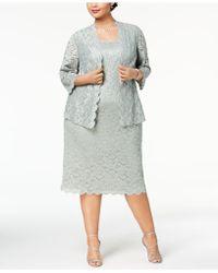 Alex Evenings - Plus Size Lace Midi Dress & Jacket - Lyst