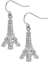 Betsey Johnson - Silver-tone Crystal Eiffel Tower Drop Earrings - Lyst