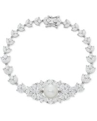 Arabella - Cultured Freshwater Pearl (10mm) & Swarovski Zirconia Orbital Link Bracelet In Sterling Silver - Lyst