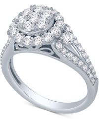 Macy's - Diamond Cluster Engagement Ring (1-1/2 Ct. T.w.) In 14k White Gold - Lyst