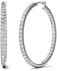 Charles & Colvard - Moissanite Hoop Earrings (2-1/3 Ct. T.w. Diamond Equivalent) In 14k White Gold - Lyst