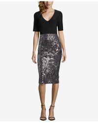 Betsy & Adam - Solid & Sequined Midi Sheath Dress - Lyst