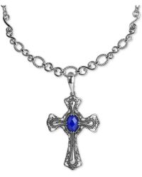 Carolyn Pollack - Lapis Lazuli Doublet Pendant Necklace (5-3/4 Ct. T.w.) In Sterling Silver - Lyst