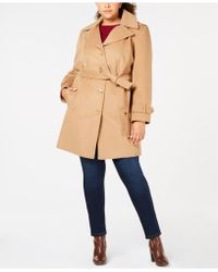 d5c9aee10e5 Michael Kors Michael Plus Size Asymmetrical Belted Coat in Natural ...