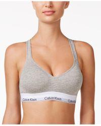 17bc27287b Lyst - Calvin Klein Modern Cotton Low-impact Logo Bralette F3785 in Gray
