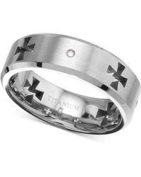 Macy's - Diamond Accent Cross Cutout Band In Titanium - Lyst