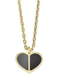 "Kate Spade - Gold-tone Enamel Heart Pendant Necklace, 16"" + 3"" Extender - Lyst"