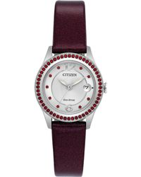 Citizen - Women's Silhouette Crystal Jewelry Red Leather Strap Watch 29mm Fe1121-05a - Lyst