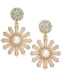 INC International Concepts | Gold-tone Stone & Pavé Flower Burst Drop Earrings | Lyst
