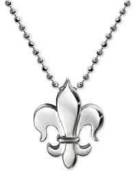 Alex Woo - Little Faith Fleur De Lis Pendant Necklace In Sterling Silver - Lyst