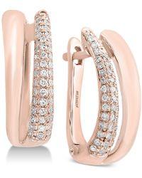 Effy Collection - Effy® Diamond Hoop Earrings (3/8 Ct. T.w.) In 14k Rose Gold - Lyst
