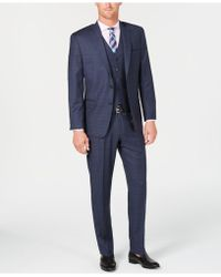 Michael Kors - Classic/regular Fit Natural Stretch Blue Check Vested Wool Suit - Lyst
