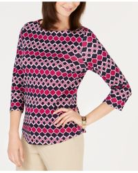 Charter Club - Button-shoulder Print Top, Created For Macy's - Lyst
