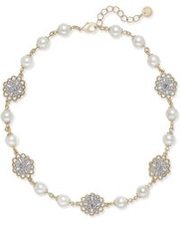 Charter Club | Two-tone Crystal Filigree & Imitation Pearl Collar Necklace | Lyst