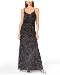 Adrianna Papell - Dress, Sleeveless Spaghetti Strap Beaded Blouson Evening Gown - Lyst