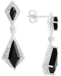 Macy's - Onyx (6 X 2-1/2mm, 13 X 5mm) And Diamond (1/8 Ct. T.w.) Drop Earrings In Sterling Silver - Lyst