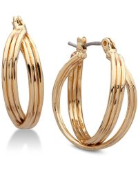Nine West - Multi-row Twisted Hoop Earrings - Lyst