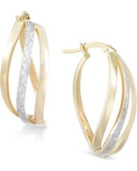 Macy's - Textured Two-tone Wavy Hoop Earrings In 14k Gold And White Gold - Lyst