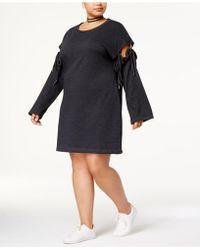 Almost Famous - Trendy Plus Size Tie-sleeve Sweatshirt Dress - Lyst