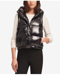 DKNY - Hooded Metallic Puffer Vest, Created For Macy's - Lyst