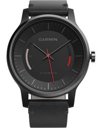 Garmin - Women's Vívomove Classic Black Leather Strap Activity Tracking Smart Watch 42mm 010-01597-12 - Lyst