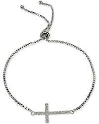 Giani Bernini - Cubic Zirconia East West Cross Slider Bracelet In Sterling Silver, Created For Macy's - Lyst