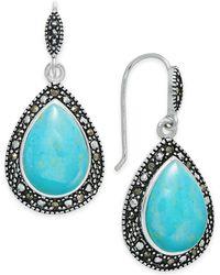 Macy's - Manufactured Turquoise & Marcasite Teardrop Drop Earrings In Silver-plate - Lyst