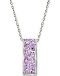 Giani Bernini - Cubic Zirconia Purple Cluster Pendant Necklace In Sterling Silver - Lyst
