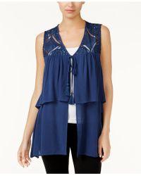 August Silk - Tiered Crochet-contrast Vest - Lyst