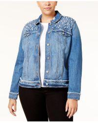 INC International Concepts - Plus Size Embellished Denim Jacket - Lyst