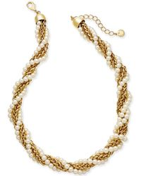 "Charter Club - Gold-tone Imitation Pearl And Chain Twist Collar Necklace, 18"" + 2"" Extender, Created For Macy's - Lyst"